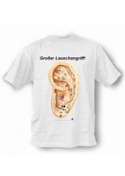 Анатомическая медицинская футболка. Акупунктурные точки ушной раковины. На немецком