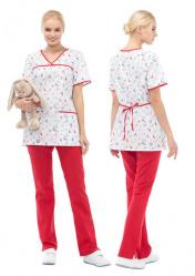 """Блуза для стоматолога с принтом LF2111 """"Зубки"""""""