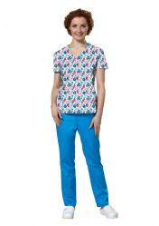 Блуза женская LF2106 с рисунком для врачей и медсестер
