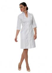 Изящный женский халат для врача LL1103 бело-сиреневый