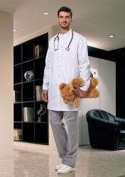 Классический мужской медицинский халат LL1201 белый