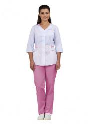 """Комплект одежды женский """"Ольга"""" (блуза и брюки) белый с розовой отделкой"""