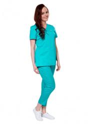 Яркие женские брюки для врача LF3103 бирюзовые